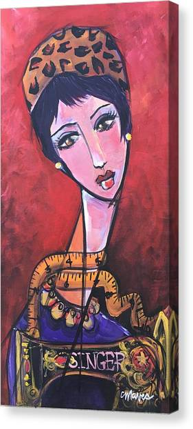 Canvas Print featuring the painting Ms. Bimba Fashionable Seamstress by Laurie Maves ART