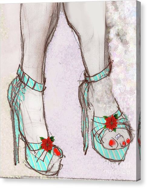 Ms Cindy's Shoes With Poinsettas Canvas Print