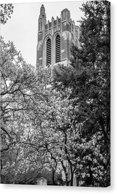 Michigan State University Canvas Print - Msu Beaumont Tower Black And White 3 by John McGraw