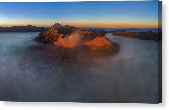 Canvas Print featuring the photograph Mt Bromo Sunrise by Pradeep Raja Prints