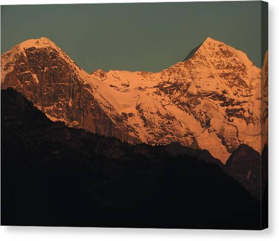 Mt. Eiger And Mt. Moench At Sunset Canvas Print