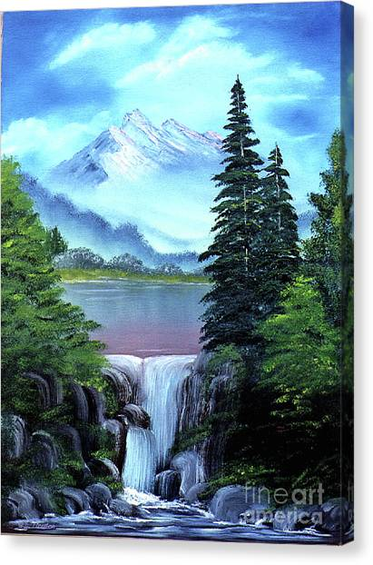 Canvas Print featuring the painting Mt Fuji by Dee Flouton