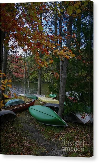 Mt. Gretna Canoes In Fall Canvas Print