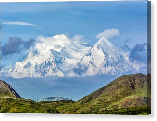 Mt Mckinley Materializes Out Of The Clouds. Canvas Print