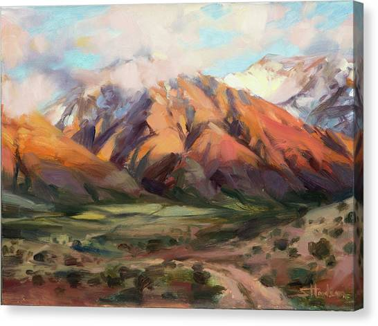 Dirt Road Canvas Print - Mt Nebo Range by Steve Henderson