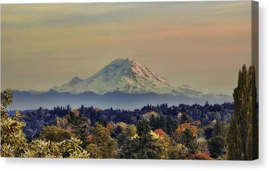 Mt Rainer Fall Color Rising Canvas Print