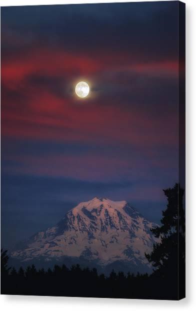 Mt Rainer Super Moon Canvas Print