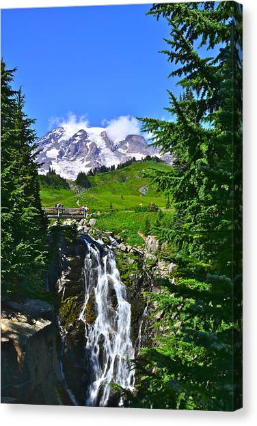 Mt. Rainier From Myrtle Falls Canvas Print