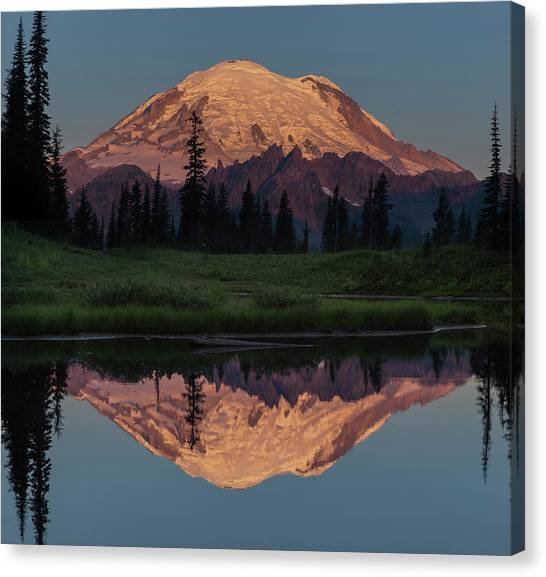 Mt Rainier Mirror Image Canvas Print by Angie Vogel