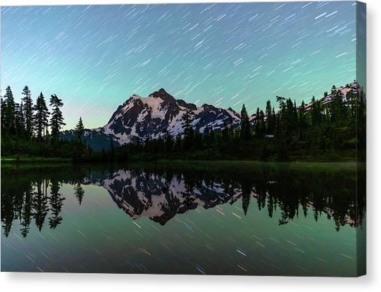 Mt Shuksan And Star Trails Canvas Print