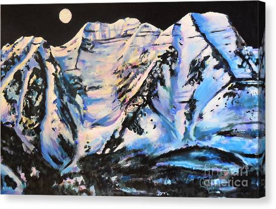 Mt. Timpanogos Under A Full Moon Canvas Print
