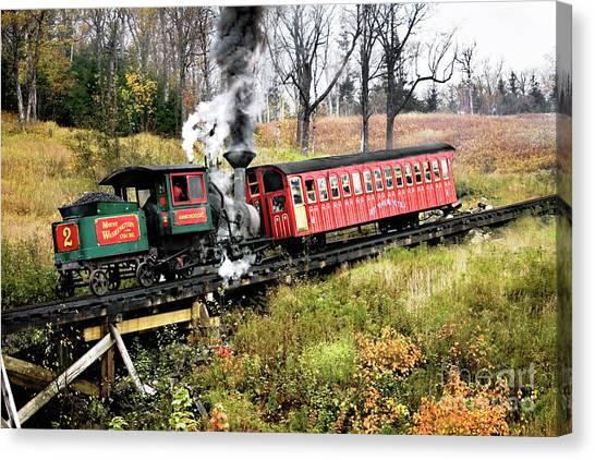 Mt Washington Cog Railway And Train Canvas Print