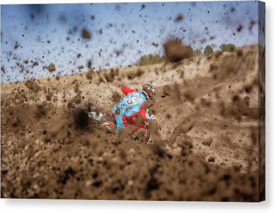 Dirt Bikes Canvas Print - Mud Action by Billy Soden