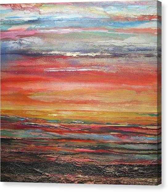 Mudflats Budle Bay Evening Light No2 Canvas Print by Mike   Bell