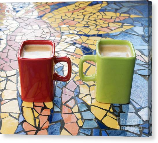 Mugs Of Coffee Canvas Print by Bryan Attewell