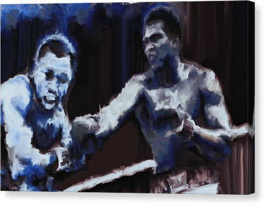 Joe Frazier Canvas Print - Muhammad Ali And Joe Frazier Under The Blue Lights by Brian Reaves