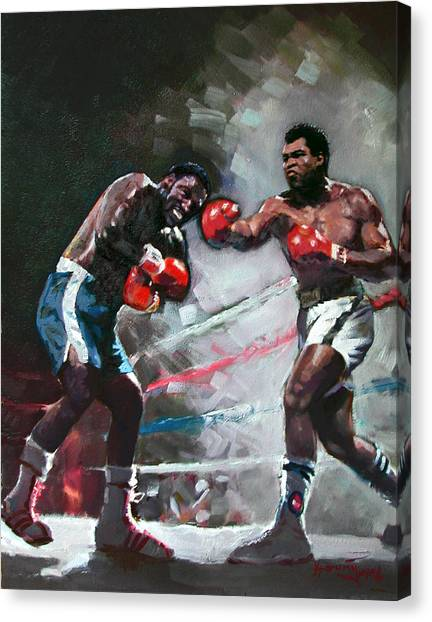 Boxers Canvas Print - Muhammad Ali And Joe Frazier by Ylli Haruni