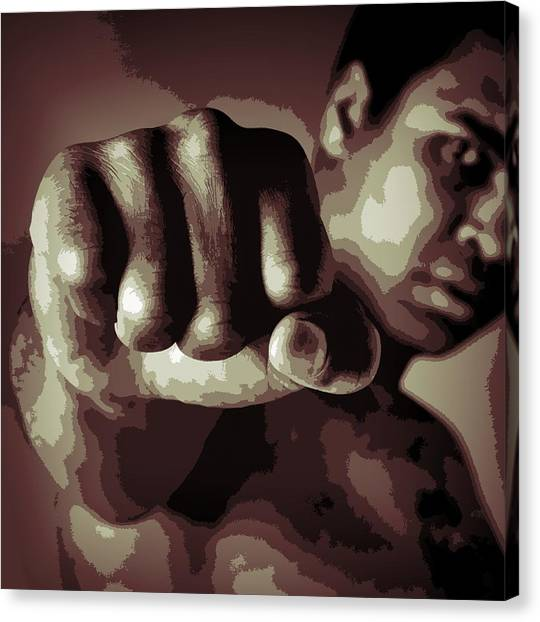 Joe Frazier Canvas Print - Muhammad Ali Fist Poster by Dan Sproul