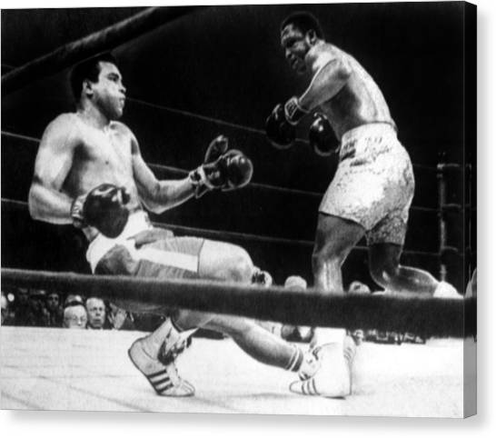 Joe Frazier Canvas Print - Muhammad Ali Knocked Down By Joe by Everett