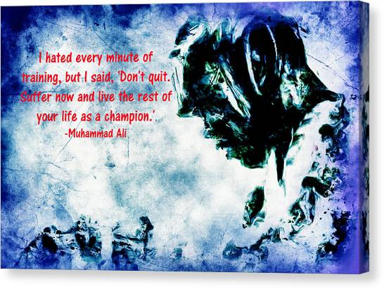 Joe Frazier Canvas Print - Muhammad Ali Motivational Quote 4 B by Brian Reaves