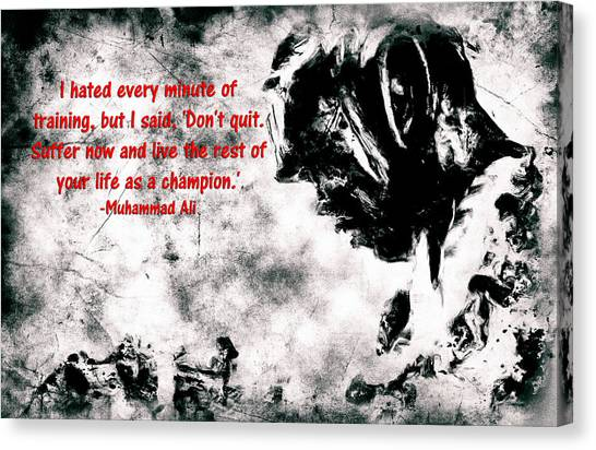 Joe Frazier Canvas Print - Muhammad Ali Motivational Quote 4a by Brian Reaves