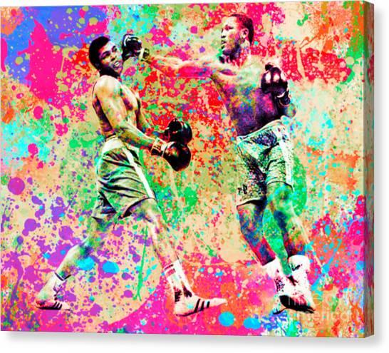 Joe Frazier Canvas Print - Muhammed Ali Vs Joe Frazier Sport Pop Art Pur by Felix Von Altersheim