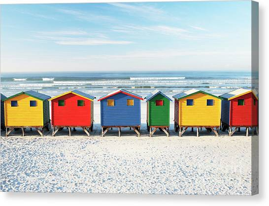 Cape Town Canvas Print - Muizenberg Beach Huts 2 by Neil Overy