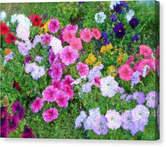 Multi Color Flowers Canvas Print by Ralph Liebstein