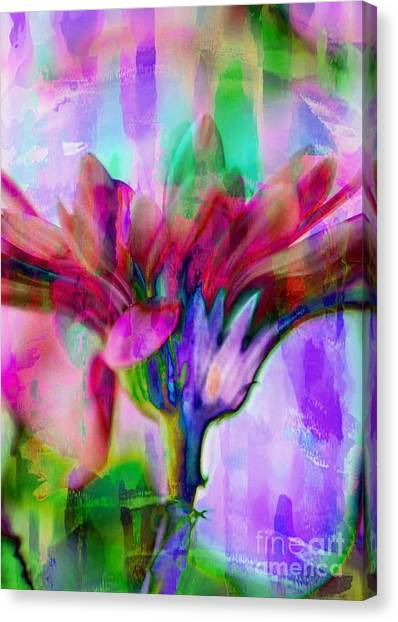 Canvas Print featuring the photograph Multi Colored Daisy by Michael Moriarty