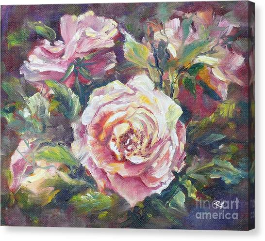 Multi-hue And Petal Rose. Canvas Print