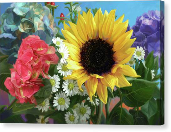 Small Canvas Print - Multicolor Flowers by Lucie Bilodeau