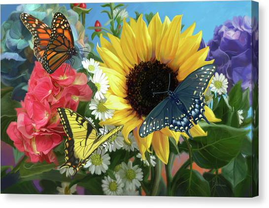 Yellow Butterfly Canvas Print - Multicolor by Lucie Bilodeau