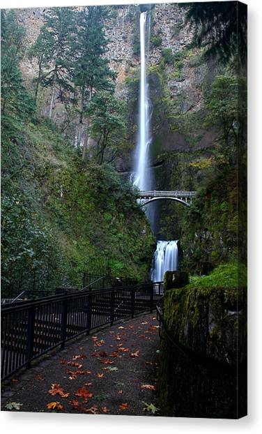 Multnomah Falls - Fall Begins Canvas Print