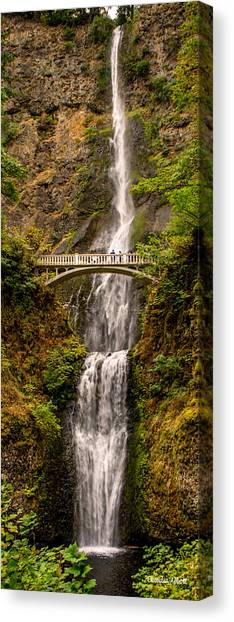 Canvas Print featuring the photograph Multnomah Falls  by Claudia Abbott