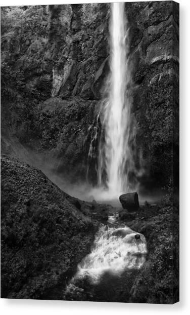 Multnomah Falls In Black And White Canvas Print