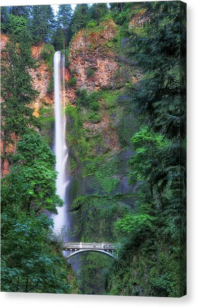 Canvas Print featuring the photograph Multnomah Falls Portland Oregon by Robert Bellomy