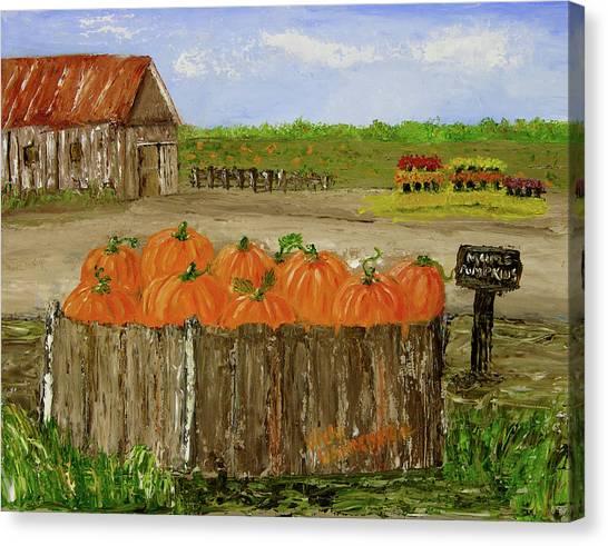 Mum And Pumpkin Harvest Canvas Print