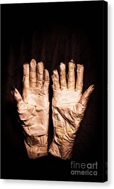 Egyptian Canvas Print - Mummy's Hands Over Dark Background by Jorgo Photography - Wall Art Gallery