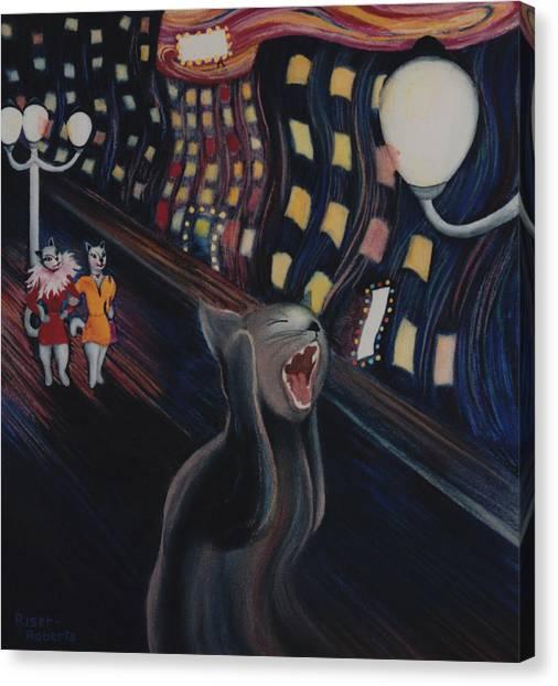 Sex Kitten Canvas Print - Munch's Cat--the Scream by Eve Riser Roberts