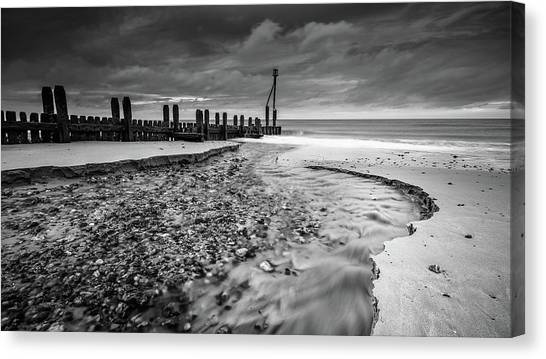 Mundesley Beach - Mono Canvas Print