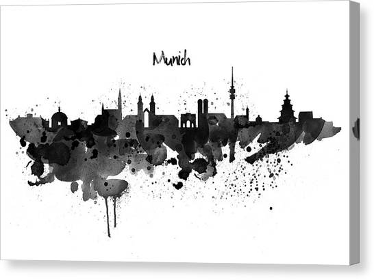 European City Canvas Print - Munich Black And White Skyline Silhouette by Marian Voicu