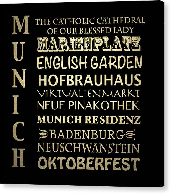 Famous Places Canvas Print - Munich Famous Landmarks by Patricia Lintner