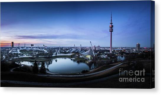 Fc Bayern Munich Canvas Print - Munich - Watching The Sunset At The Olympiapark by Hannes Cmarits