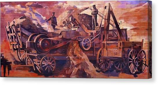 Mural 12x90 Feet Detail Threshing Crew Canvas Print