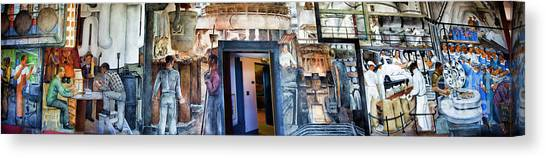 Mural Coit Tower Interior Panorama  Canvas Print