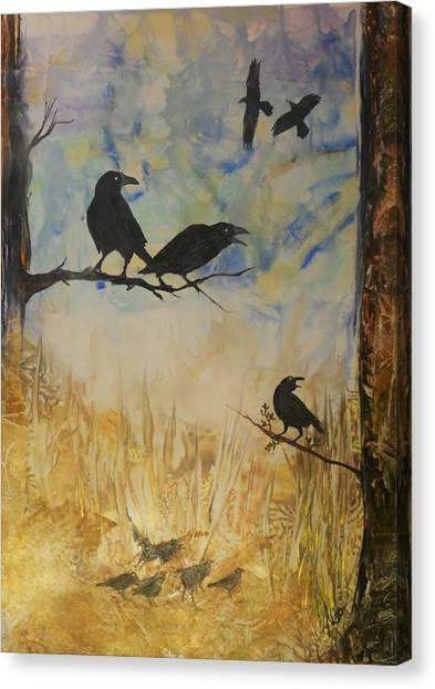 Murder Of Crows Canvas Print by John Vandebrooke