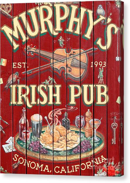 St. Patricks Day Canvas Print - Murphy's Irish Pub - Sonoma California - 5d19290 by Wingsdomain Art and Photography