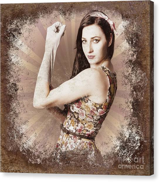 Womens Rights Canvas Print - Muscle And Strength Pinup Poster Girl by Jorgo Photography - Wall Art Gallery