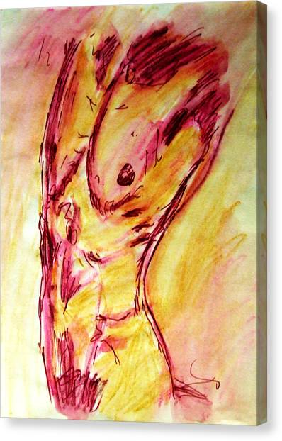 Muscled Male Nude Arched Back In A Classic Erotic Model Pose In Watercolor Purple And Yellow Sketch Canvas Print