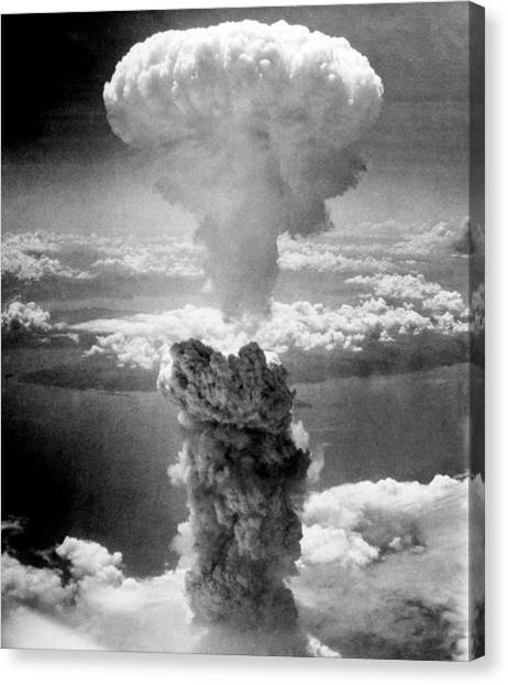 Bombs Canvas Print - Mushroom Cloud Over Nagasaki  by War Is Hell Store